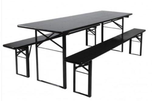 biertafel zwart set banken